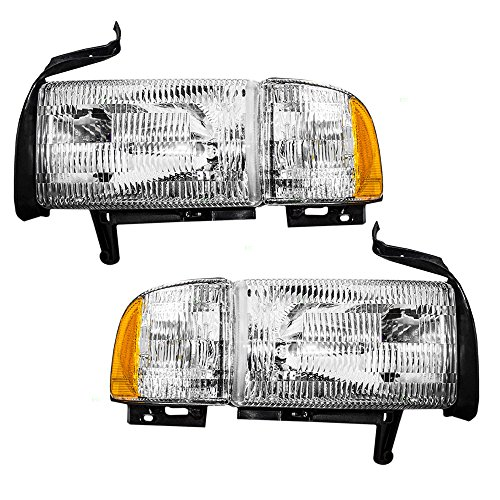 Photo Driver and Passenger Headlights Headlamps with Corner Lamp Replacement for Dodge Pickup Truck 55076749AD 55076748AD