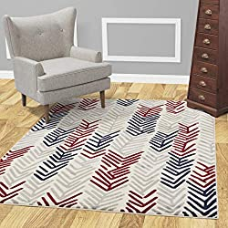 "Diagona Designs Contemporary Floral Design Modern 8' X 10' Area Rug, 94"" W x 118"" L, Ivory/Navy / Gray/Red (JAS2050)"
