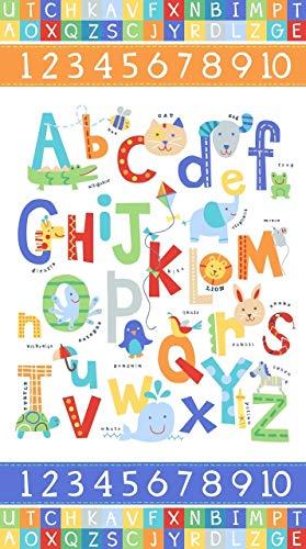 (Northcott Alphabet Soup Animal ABCs 43in Panel White Fabric)