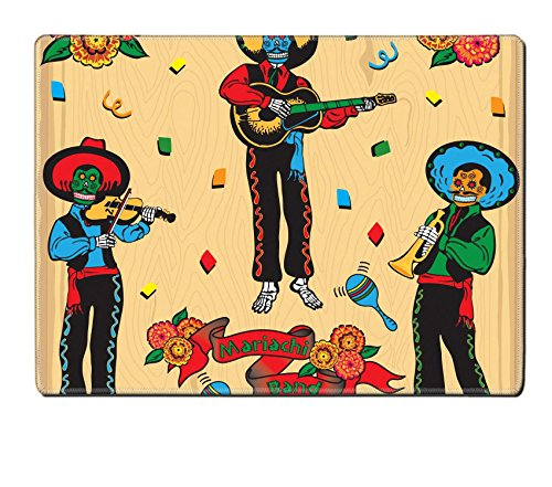 [MSD Natural Rubber Placemat IMAGE ID: 6609204 Colorful Day of the Dead Mariachi Band with banner and flowers on a faded wood] (Dia De Los Muertos Mariachi Costume)
