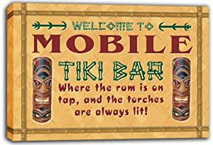 scpm1-2167 MOBILE Tiki Bar Mask Beer Stretched Canvas Print Sign