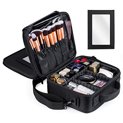 Kootek Travel Makeup Bag Double-Layer Portable Train Cosmetic Case Organizer with Mirror Shoulder Strap Adjustable Dividers for Cosmetics Makeup Brushes Toiletry Jewelry Digital Accessories (Cosmetic Organizer Case)