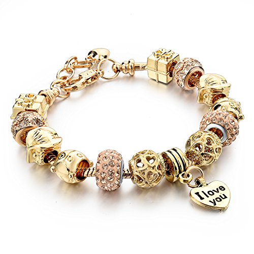 Long Way Gold Plated Snake Chain Beads Charm Bracelet For