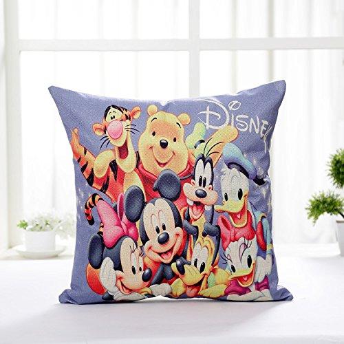 AM 2 Pc Kids Purple Yellow Mickey Mouse Throw Pillow Case Set, Red Pink Walt Friends Cushion Cover Minnie Winnie The Pooh Tigger Donald Daisy Duck Goofy Pluto Animal Cute TV Children, Linen