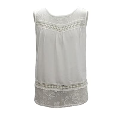 2b94b0904b24a7 Image Unavailable. Image not available for. Colour: Women's Vest,Women  Summer Boho Chiffon Lace Sleeveless Vest Top Blouse Casual Tank Tops Blouse