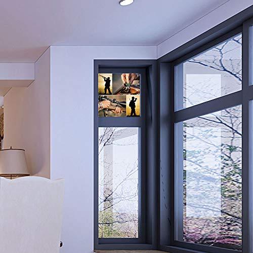 YOLIYANA Control Heat and Anti UV Window Cling,Hunting Decor,Reduce Heat, Glare and Block Out Harmful UV Rays,Collage of Hunting Themed Photos Loading Rifle Binoculars,17''x24''