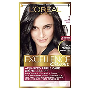 L\'Oreal Excellence Creme Natural Black Hair Dye, Pack of 3: Amazon ...