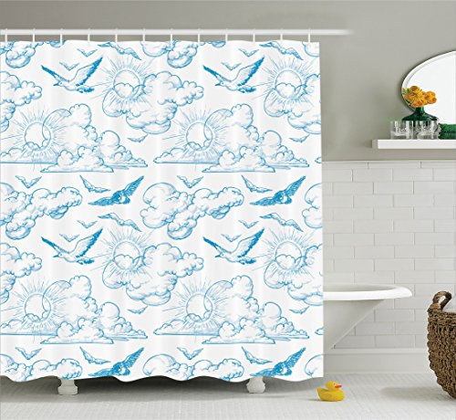 Ambesonne Seagulls Decor Collection, Sky Birds Sunshine over the Clouds Pattern Horizon Summertime Sketchy Design Print, Polyester Fabric Bathroom Shower Curtain, 84 Inches Extra Long, Blue White