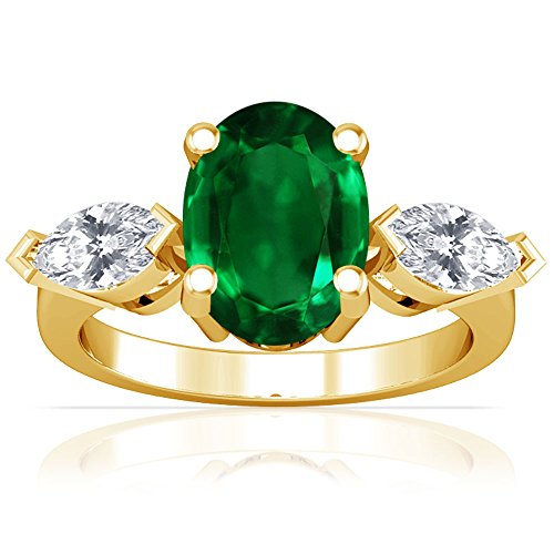 18K-Yellow-Gold-Oval-Cut-Emerald-Three-Stone-Ring-GIA-Certificate