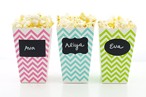 Disney Ariel Favor Bucket (Mermaid Party Popcorn Boxes & Black Label Chalkboard Vinyl Stickers (36 Pack) - Mermaids Party Favors, Miniature Movie Theatre Popcorn Tubs for Under The Sea Mermaid Birthday Party Supplies)