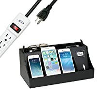 G.U.S. 4-Port USB Cell Phone Charging Station, Universal Charging Station Organizer for Smart Phones, Charging Dock for iPhones, Apple Watch, Androids, Fitness Trackers, with 6-Outlet AC Power Strip