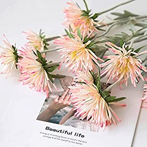 LI HUA CAT Artificial Crabberry 3 Heads White/Light Bule Color Chrysanthemum Artificial Flower Fake Flower for Wedding Decorating Flower Arrangement Home School Shop DIY etc (Pink) 84