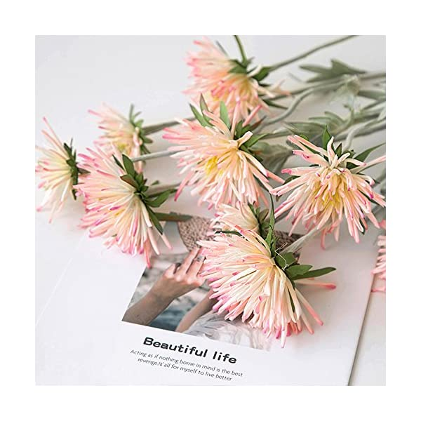 LI HUA CAT Artificial Crabberry 3 Heads White/Light Bule Color Chrysanthemum Artificial Flower Fake Flower for Wedding Decorating Flower Arrangement Home School Shop DIY etc (Pink)