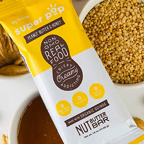 Super Pop Snacks-NEW LOOK! | GLUTEN, SOY & DAIRY FREE with NO Refined Sugar | 10g Plant Based Protein- PB & Honey Nut Butter Bar-12 Pack