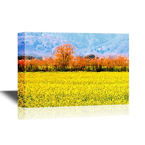 Rape Flowers (wall26 Landscape Canvas Wall Art - Yellow Rape Flower Field - Gallery Wrap Modern Home Decor | Ready to Hang - 32x48 inches)