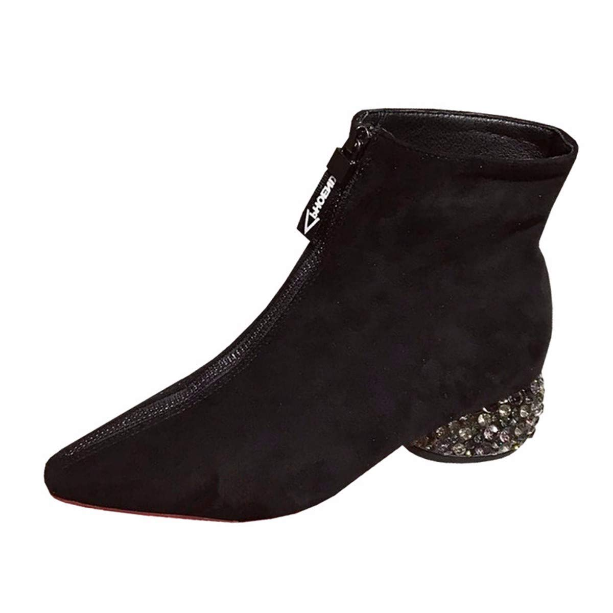LBTSQ Fashion Damenschuhe Wasser Bohren Dicke Sohle Heel 4Cm Mode - Stiefel Reißverschlüsse Sagte Ferse Mitte Kurze Stiefel