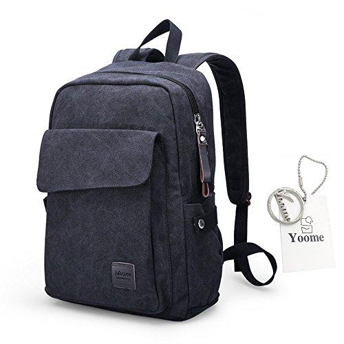 Yoome mochila de primera calidad para la escuela secundaria Mochila Mochila Mochila de 14 pulgadas Laptop Travel Mochila de la universidad para los hombres de excursión Camping Bag - Khaki Armada