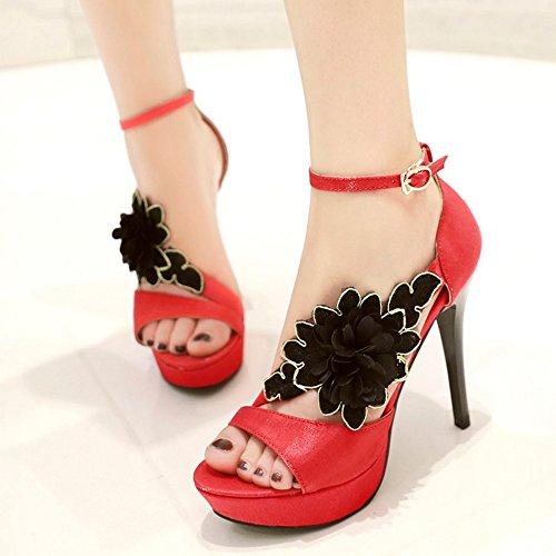 TAOFFEN Mujer Peep Toe Sandalias Elegante Tacon Alto Verano Zapatos De Flor Rojo
