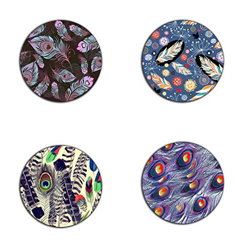 (Bird feathers pattern round coaster set - Made of recycled rubber - set of 4)