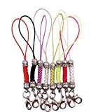 Dcatcher Mixed Colors Mobile Cell Phone Cords Charms Strap Lariat with Lobster Clasp for Cellphone/iPod/Mp3/Mp4/USB Flash Drive, 8 PCS, Silver