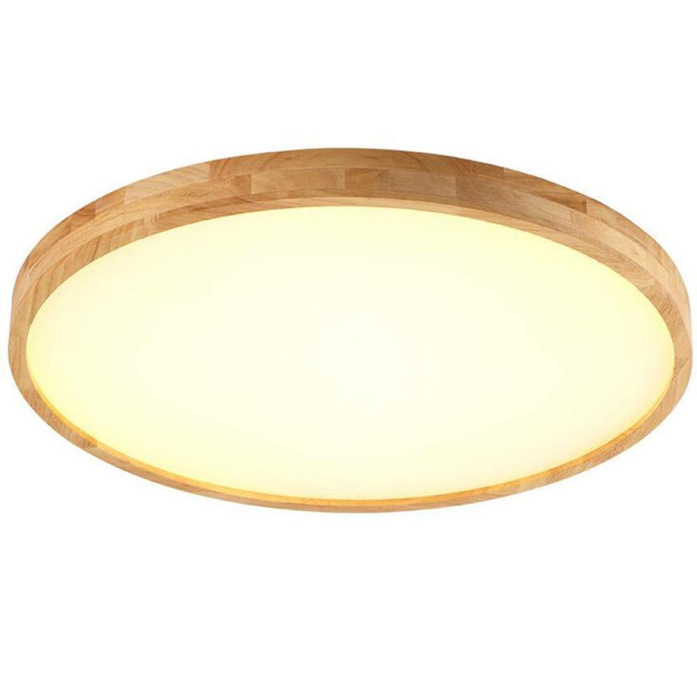 GAOLI Deckenlampe Nordic Ultra-Dünne Massivholz Deckenlampe Moderne Minimalistische Schlafzimmer Wohnzimmer Rund LED-Deckenleuchte,40Cm