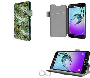 Plumes pattern with peacock feathers Collection Pattern Funda de Cuero para Samsung Galaxy A3 (2016) Flip Case Cover (Estuche) PU Cuero - Accesorios Case Industry Protector