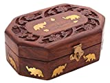 The StoreKing Decorative Handmade Wooden Box Jewelry Trinket Holder Organizer Keepsake Storage Box Elephant Brass Inlay