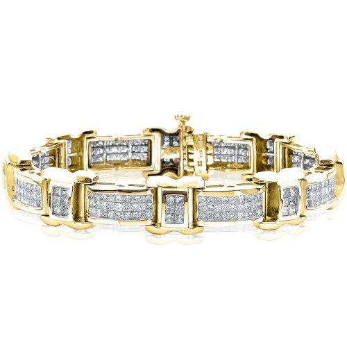 KATARINA 14K Yellow Gold 7 7/8 ct. Princess Cut Three Row Diamond Bracelet (8