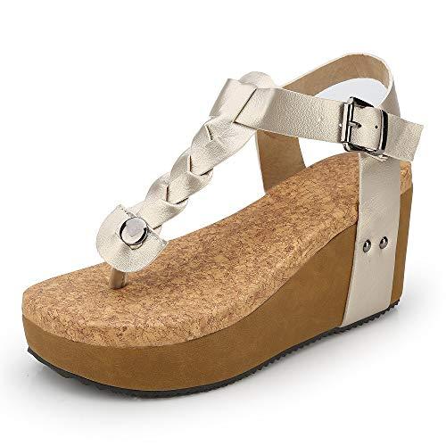 Compensées Bout Chaussure 35 Espadrilles Chic Noir Flip Femme Dames Cuir Romaines Été Plateforme Beige 43 Plage Bohême Sandales Legere Flop Marron Ouvert fIRdapqfxw