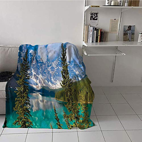 Children's blanket cozy Print Summer Quilt Comforter (70 By 90 Inch,Cottage Decor Collection,Sight of Moraine Lake Rocky Mountains and Summer Forest after Alive Tall Floiaged Trees View,Aqua)