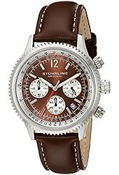 Stuhrling Original Men's 669.03 Monaco Analog Japanese Quartz Brown Genuine Leather Watch