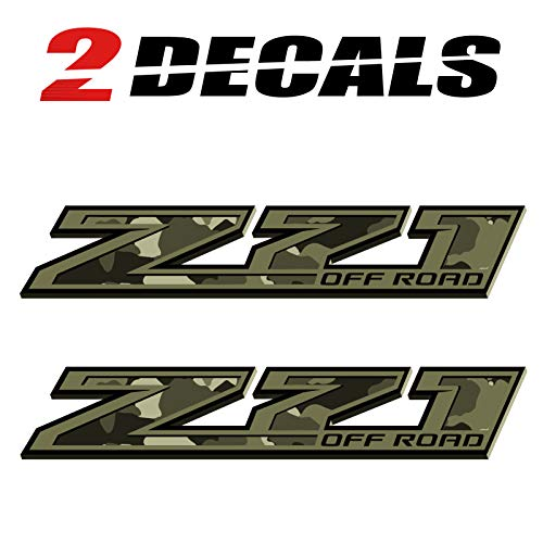 - TiresFX Chevy Silverado Camo Z71 Offroad Military Truck Stickers Decals - Bedside (Set of 2)