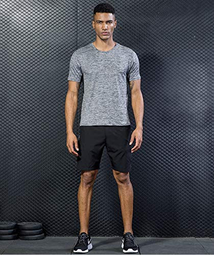 5 Pack Men's Active Quick Dry Crew Neck T Shirts   Athletic Running Gym Workout Short Sleeve Tee Tops Bulk 16
