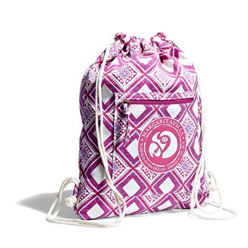 Margaritaville Nylon Drawstring Backpack for Women Lightweight, Mosaic Fuchsia Pink
