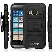 Fosmon® HTC One M9 Case (STURDY) Heavy Duty Hybrid Shell Case and Holster with Kick Stand for HTC One M9 - Fosmon Retail Packaging (Black)