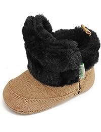 Baby Classic Soft Sole Winter Warm Snow Boots Prewalker Crib Shoes (6-9 Months, Khaki)