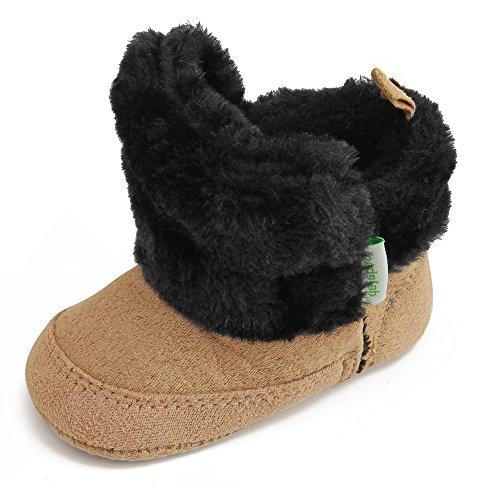 Delebao Baby Classic Soft Sole Winter Warm Snow Boots Prewalker Crib Shoes (0-6 Months, Khaki)
