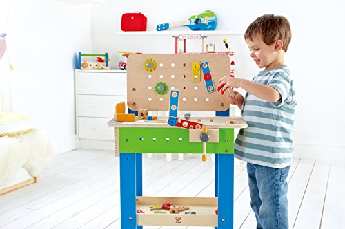 516CiyY5doL - Hape Master Workbench by Award Winning Kid's Wooden Tool Bench Toy Pretend Play Creative Building Set, Height Adjustable 32 Piece Workshop for Toddlers