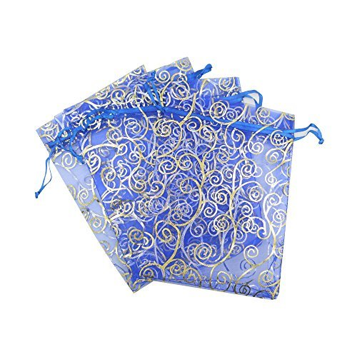 50 Organza Gift Bags (Blue with Golden Details, 4.5