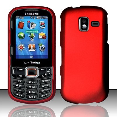 - Importer520 Rubberized Snap-On Hard Skin Protector Case Cover for For (Verizon) Samsung Intensity 3 U485 - Red