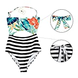 Best MiYang One Piece Swimsuits - MiYang One Piece Halter Swimsuit Cutout Leaves Printing Review