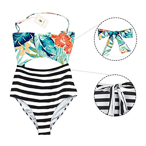 Cut Out Leaf - MiYang One Piece Halter Swimsuit Cutout Leaves Printing Stripe Swimwear