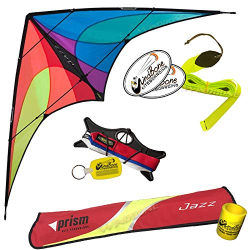 Prism Jazz Dual Line Delta Framed Stunt Kite with 40' Tail Bundle (3 Items) + Prism 40ft Nylon Ripstop Streamer Tail + WindBone Kiteboarding Lifestyle Stickers + Key Fob (Spectrum) - Nylon Stunt Kite