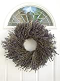 Marseille Natural Dried Lavender Wreath - Fragrant and Beautiful Real Wreath For Decorating Or Gifting - Grown and Handcrafted In USA - 17.5 Inches - Display In Summer, Spring, Fall, And Winter