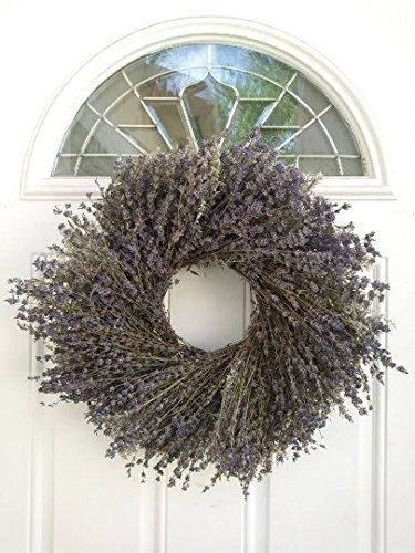 Marseille Natural Dried Lavender Wreath - Fragrant and Beautiful Real Wreath For Decorating Or Gifting - Grown and Handcrafted In USA - 17.5 Inches - Display In Summer, Spring, Fall, And Winter by THE GATHERING GARDEN