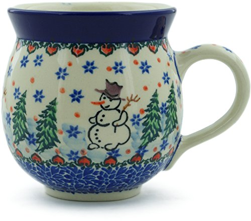 Polish Pottery Snowman - Polish Pottery 11 oz Bubble Mug made by Ceramika Artystyczna (Dancing Snowman Theme) Signature UNIKAT + Certificate of Authenticity