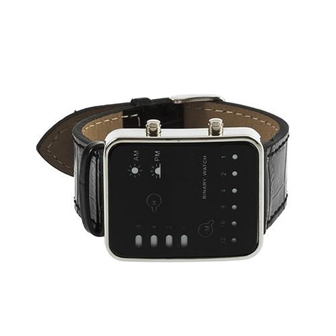SODIAL(R) Reloj de Pulsera Binario Deportivo LED Rojo Digital Banda de Cuero PU: Amazon.es: Hogar