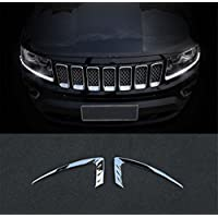 FMtoppeak Chrome Front Head Light Eyebrow Trim for Jeep Grand Cherokee 2014-2016