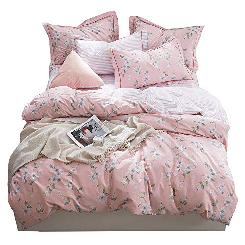 BHUSB Cotton Pink Floral Bedding Duvet Cover Twin for Kids Girls Reversible Flower Bedding Collection with Striped Pattern Teens Soft Comforter Cover 3 Piece Set Twin,Gift for Children