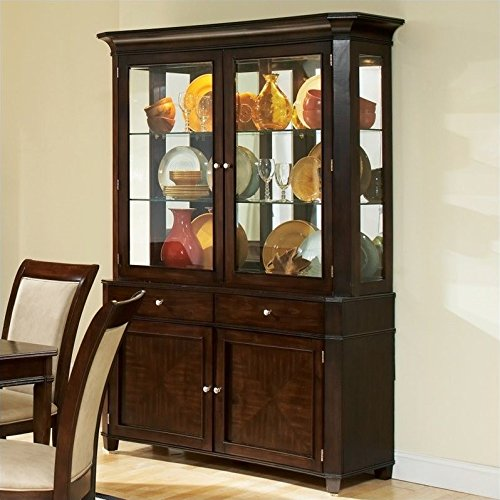 Steve Silver Company Marseille China Cabinet in Dark Cherry by Steve Silver